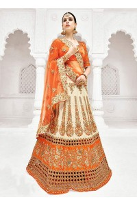 Cream satin a line wedding lehenga 1107