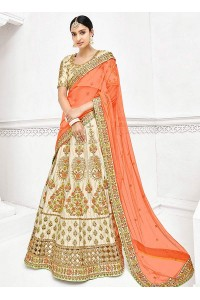 Cream satin a line wedding lehenga 1111