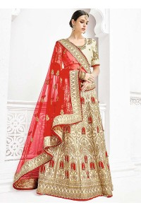 Cream satin a line wedding lehenga choli 1101