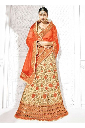Cream velvet a line wedding lehenga 1104