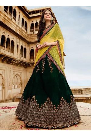 Dark green velvet a line wedding lehenga 501