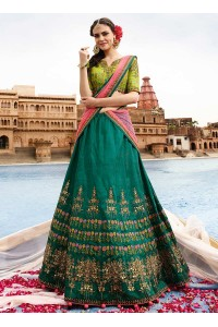 Green art raw silk a line wedding lehenga 506
