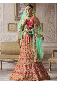 Hot pink banarasi silk wedding lehenga 4006