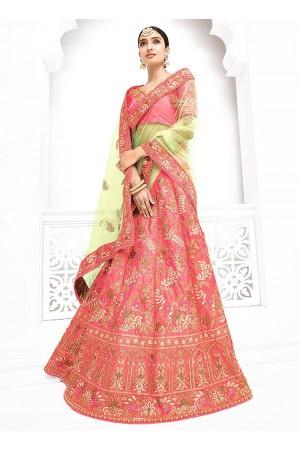 Light pink pure banarasi silk a line wedding lehenga 1103
