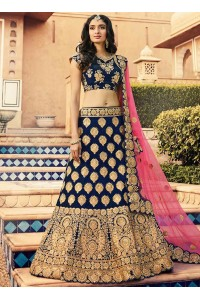Navy blue heavy work wedding lehenga choli 13071
