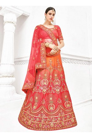 Orange and pink pure banarasi silk wedding lehenga 1108