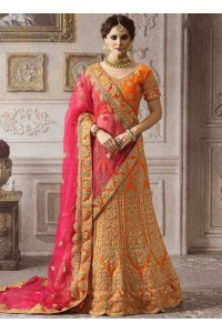 Orange pink color satin wedding lehenga 4005