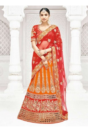 Orange satin a line wedding lehenga 1106