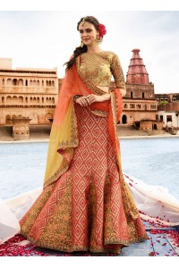 Peach art silk umbrella wedding lehenga 503