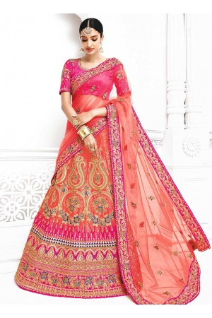 Peach satin a line wedding lehenga choli 1105