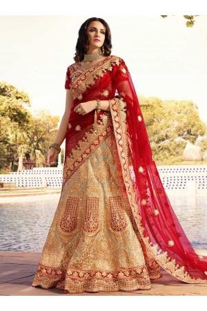 Red beige color silk wedding lehenga 13074
