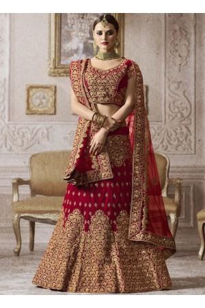 Red color velvet wedding lehenga choli 4010