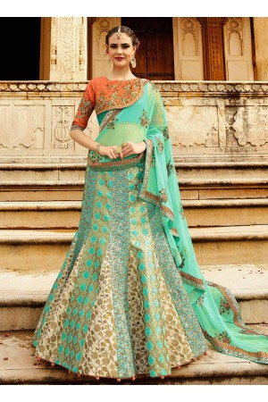 Sky blue art silk a line wedding lehenga 508