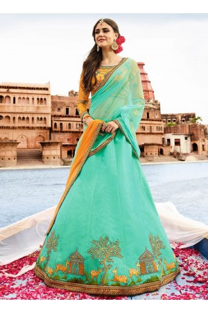Sky blue art silk a line wedding lehenga choli 504