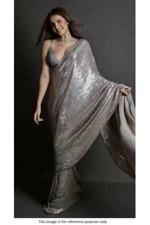 Bollywood Tara Sutaria Inspired Grey sequins saree