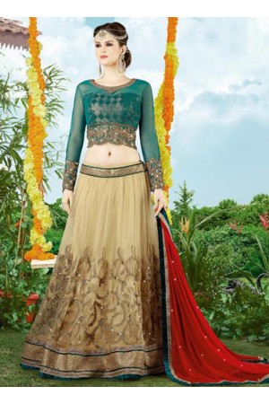 beige net party wear heavy embroidery work lehenga choli