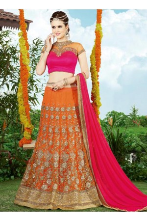 Orange and pink color netted wedding lehenga choli