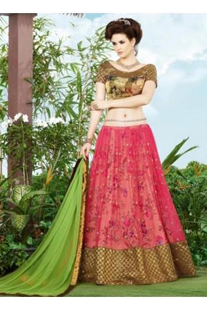 Pink color netted wedding lehenga choli