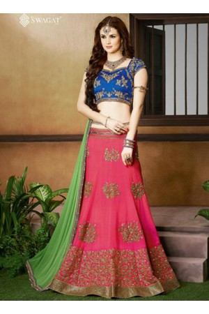 Pink and blue color silk wedding lehenga choli