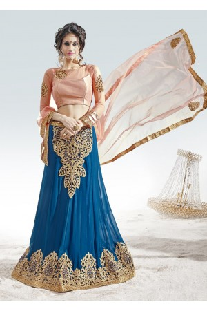 Blue Georgette satin Embroidered Circular Lehenga Choli 82014