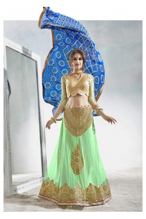 Green Colored Embroidered Net Festival Lehenga Choli 82019