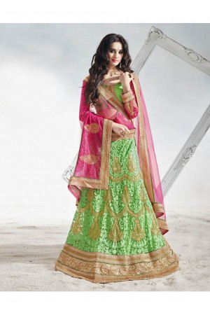 Green Net Embroidered Circular Lehenga Choli 82016