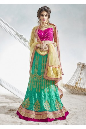 Green Satin Net Embroidered Circular Lehenga Choli 82021