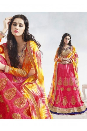 Pink Colored Embroidered Net Festival Lehenga Choli 82015