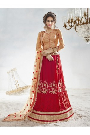 Red Colored Embroidered Faux Georgette Festival Lehenga Choli 82020