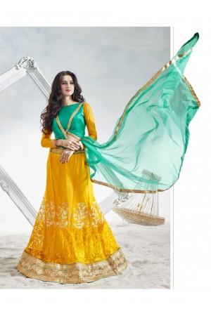 Yellow Colored Embroidered Net Festival Lehenga Choli 82023