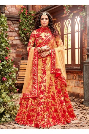 Gold and red silk wedding lehenga choli