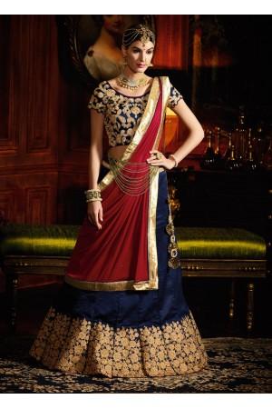 Navy blue and maroon color silk wedding lehenga choli