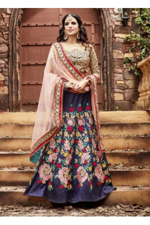 Navy blue and beige faux silk wedding lehenga choli