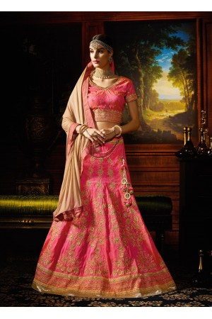 Pink color silk designer wedding lehenga