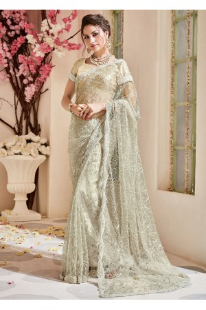 Beige Net Embroidered Partywear Saree 4108