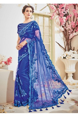 Blue Net Embroidered Partywear Saree 4107