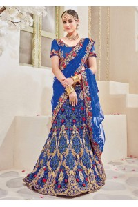 Blue Satin Net Embroidered Wedding Lehenga saree 4115