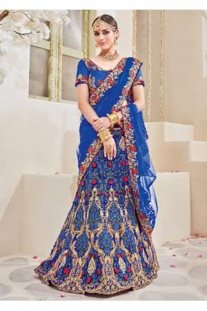 Blue Satin Net Embroidered Wedding Lehenga saree 4115