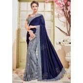 Grey Velvet Net Stone Worked Partywear Saree 4104