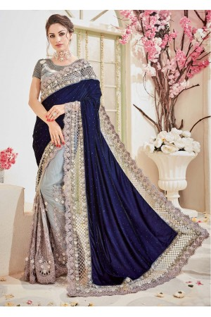 Grey Velvet Net Stone Worked Partywear Saree 4109