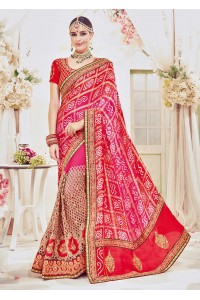 Pink Pure Georgette Net Bandhej Printed Bridal Saree 4111