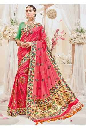 Pink Silk Embroidered Wedding Saree 4106