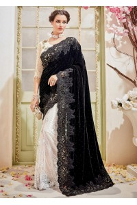 White Velvet Net Embroidered Partywear Saree 4114