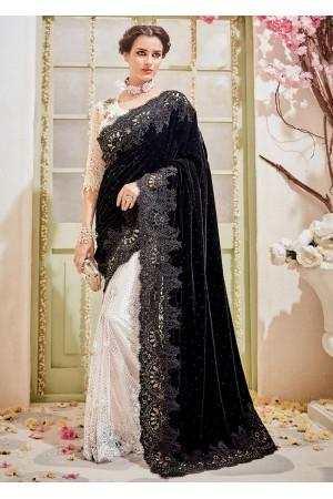 White Velvet Net Embroidered Partywear Saree 4114