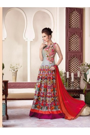 Grey raw silk party wear salwar kameez