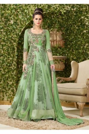 Mint green net and bhagulpuri print party wear anarkali