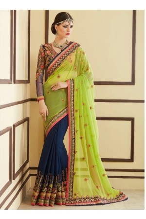 Parrot green and navy blue designer party wear saree