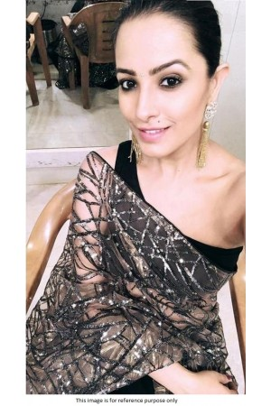 Bollywood Anita Hassanandani Inspired Black net sequins saree