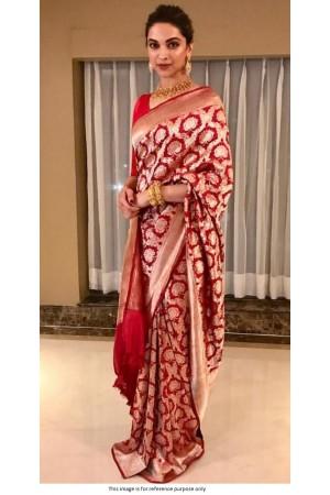 Bollywood Deepika Padukone Red banarasi silk saree