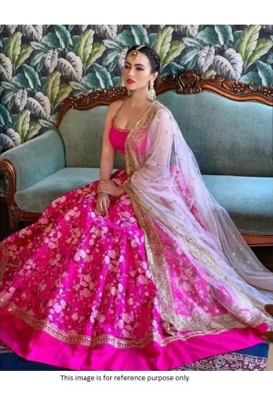 Bollywood Sana Khan Inspired Pink wedding Lehenga